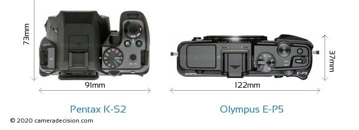Pentax K-S2 vs Olympus E-P5 Camera Size Comparison - Top View
