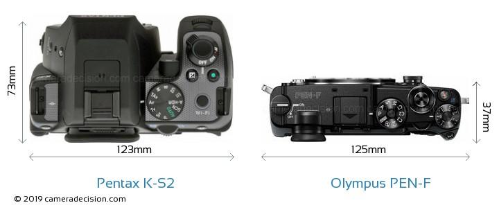 Pentax K-S2 vs Olympus PEN-F Camera Size Comparison - Top View