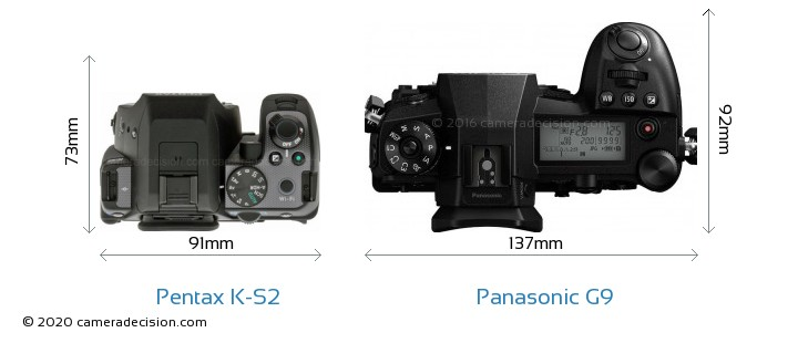 Pentax K-S2 vs Panasonic G9 Camera Size Comparison - Top View