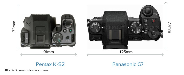 Pentax K-S2 vs Panasonic G7 Camera Size Comparison - Top View