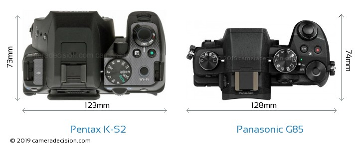 Pentax K-S2 vs Panasonic G85 Camera Size Comparison - Top View