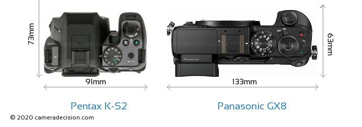 Pentax K-S2 vs Panasonic GX8 Camera Size Comparison - Top View