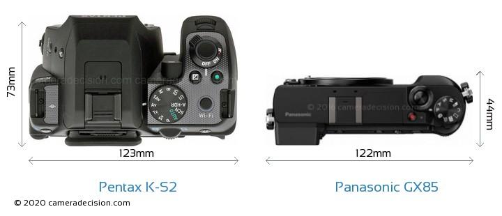Pentax K-S2 vs Panasonic GX85 Camera Size Comparison - Top View