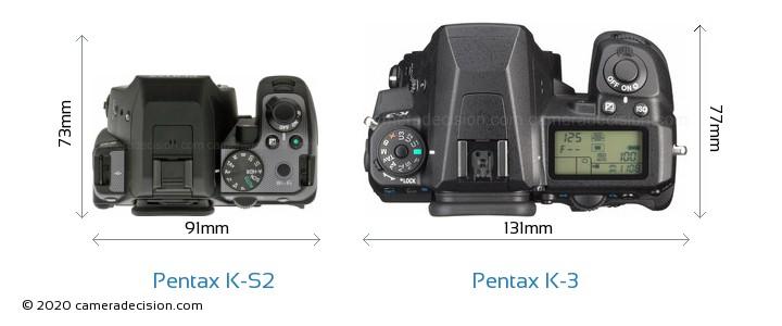 Pentax K-S2 vs Pentax K-3 Camera Size Comparison - Top View