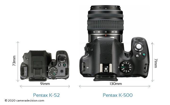 Pentax K-S2 vs Pentax K-500 Camera Size Comparison - Top View