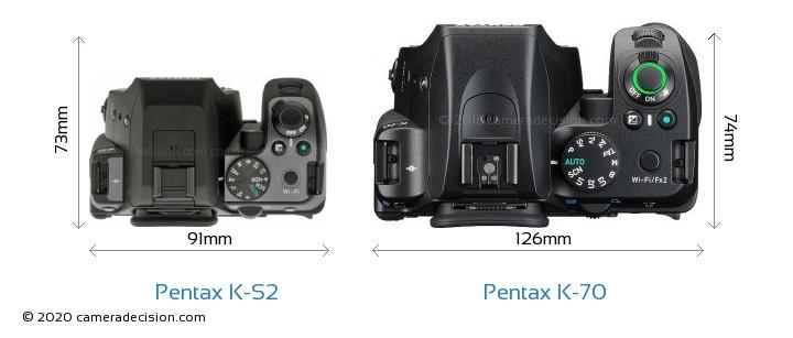 Pentax K-S2 vs Pentax K-70 Camera Size Comparison - Top View