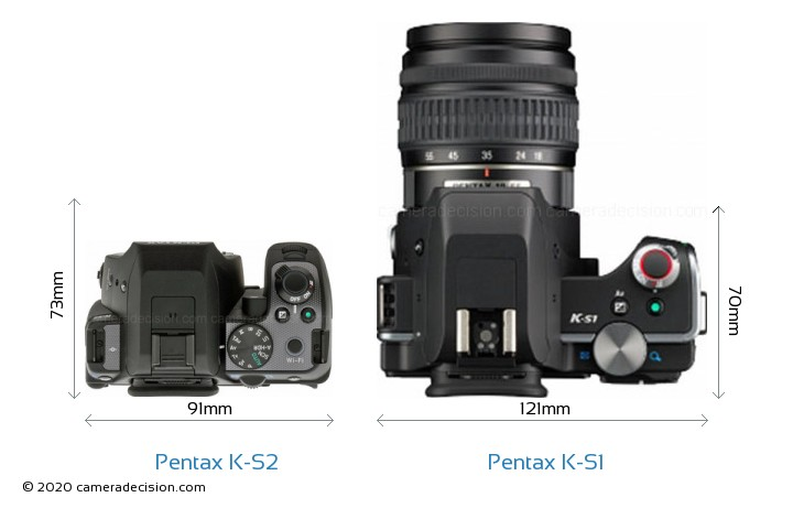 Pentax K-S2 vs Pentax K-S1 Camera Size Comparison - Top View