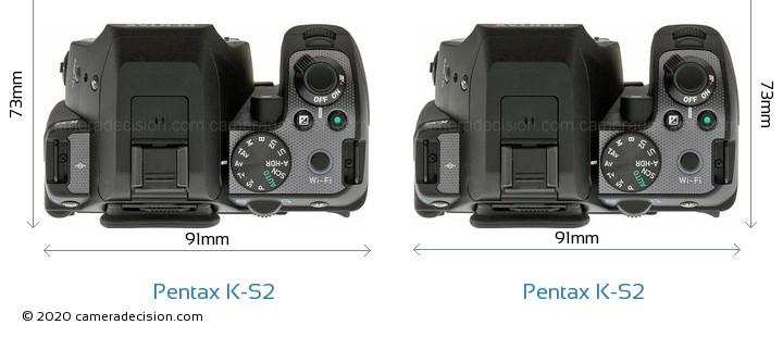 Pentax K-S2 vs Pentax K-S2 Camera Size Comparison - Top View