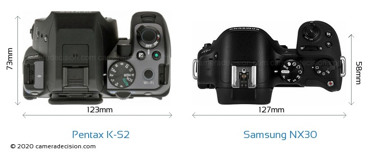Pentax K-S2 vs Samsung NX30 Camera Size Comparison - Top View