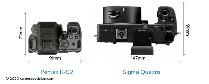 Pentax K-S2 vs Sigma Quattro Camera Size Comparison - Top View