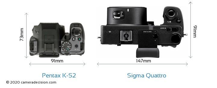 Pentax K-S2 vs Sigma Quattro Camera Size Comparison - Top View