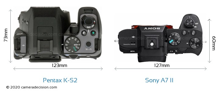 Pentax K-S2 vs Sony A7 II Camera Size Comparison - Top View