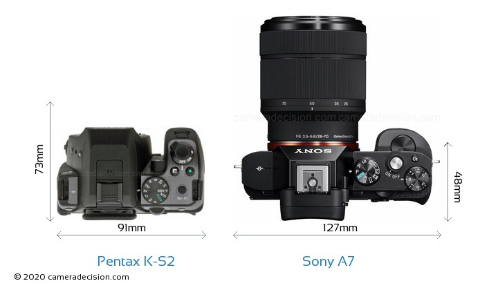 Pentax K-S2 vs Sony A7 Camera Size Comparison - Top View