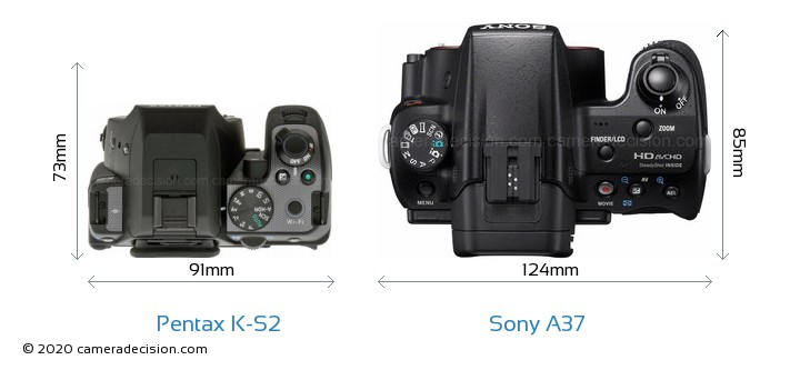 Pentax K-S2 vs Sony A37 Camera Size Comparison - Top View