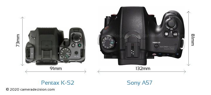 Pentax K-S2 vs Sony A57 Camera Size Comparison - Top View