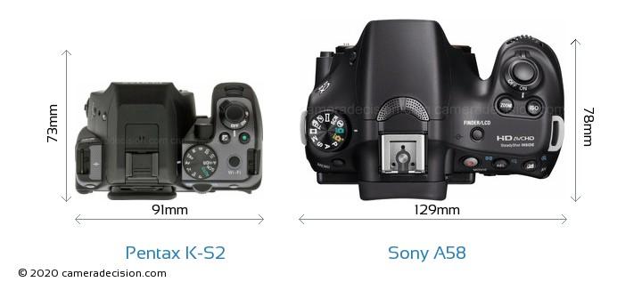 Pentax K-S2 vs Sony A58 Camera Size Comparison - Top View
