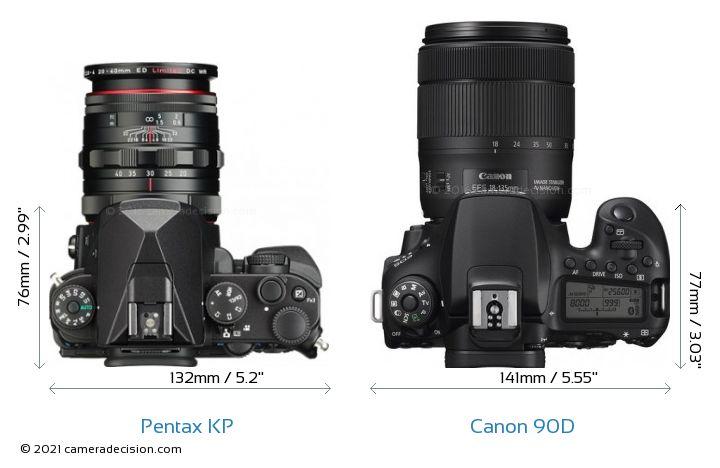 Pentax KP vs Canon 90D Camera Size Comparison - Top View