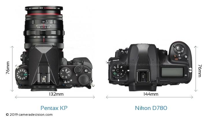 Pentax KP vs Nikon D780 Camera Size Comparison - Top View