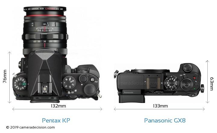 Pentax KP vs Panasonic GX8 Camera Size Comparison - Top View