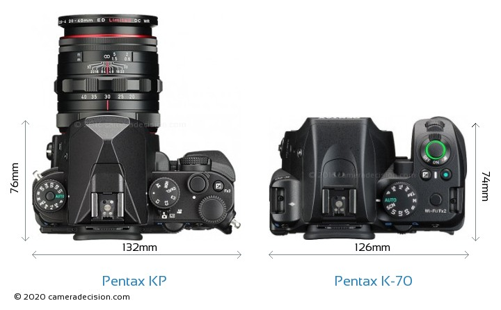 Pentax KP vs Pentax K-70 Camera Size Comparison - Top View