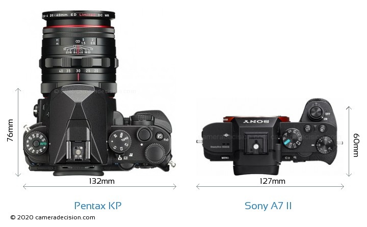 Pentax KP vs Sony A7 II Camera Size Comparison - Top View