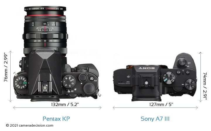 Pentax KP vs Sony A7 III Camera Size Comparison - Top View