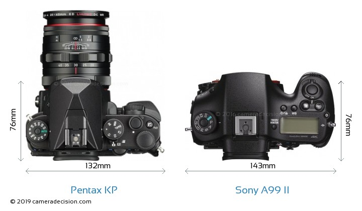 Pentax KP vs Sony A99 II Camera Size Comparison - Top View