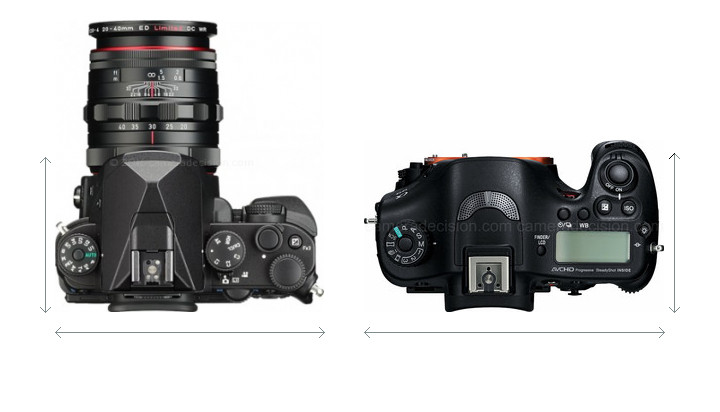 Pentax KP vs Sony A99 Camera Size Comparison - Top View