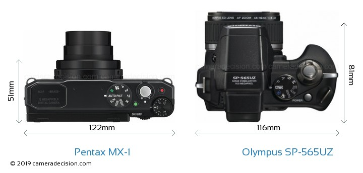 Pentax MX-1 vs Olympus SP-565UZ Camera Size Comparison - Top View
