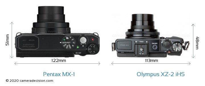 Pentax MX-1 vs Olympus XZ-2 iHS Camera Size Comparison - Top View