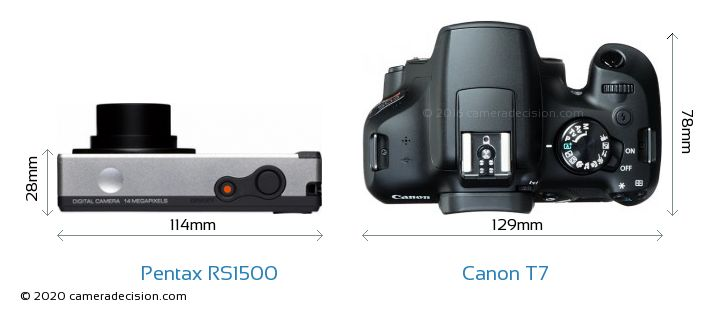 Pentax RS1500 vs Canon T7 Camera Size Comparison - Top View
