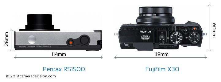 Pentax RS1500 vs Fujifilm X30 Camera Size Comparison - Top View
