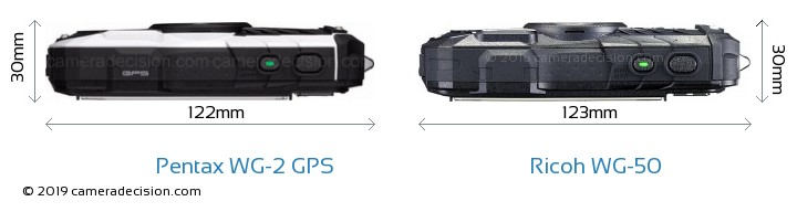 Pentax WG-2 GPS vs Ricoh WG-50 Camera Size Comparison - Top View