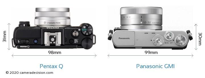 Pentax Q vs Panasonic GM1 Camera Size Comparison - Top View