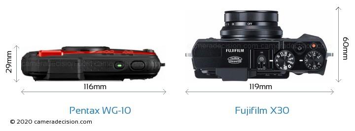 Pentax WG-10 vs Fujifilm X30 Camera Size Comparison - Top View