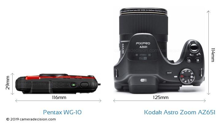 Pentax WG-10 vs Kodak Astro Zoom AZ651 Camera Size Comparison - Top View