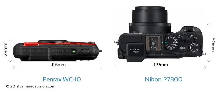 Pentax WG-10 vs Nikon P7800 Camera Size Comparison - Top View