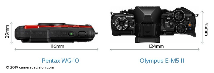 Pentax WG-10 vs Olympus E-M5 II Camera Size Comparison - Top View
