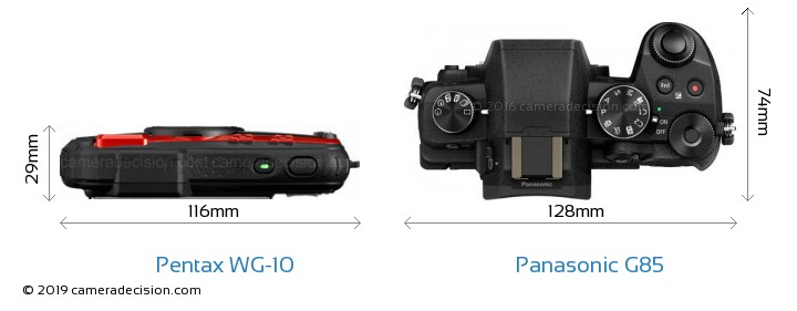 Pentax WG-10 vs Panasonic G85 Camera Size Comparison - Top View