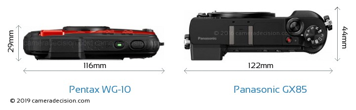 Pentax WG-10 vs Panasonic GX85 Camera Size Comparison - Top View