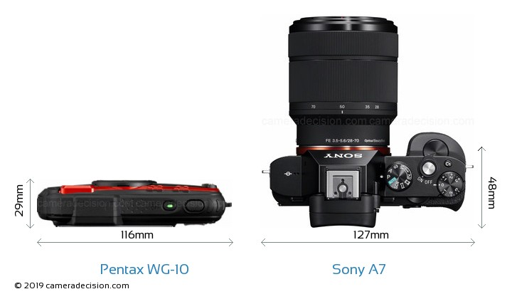 Pentax WG-10 vs Sony A7 Camera Size Comparison - Top View