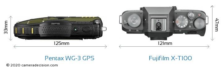 Pentax WG-3 GPS vs Fujifilm X-T100 Camera Size Comparison - Top View