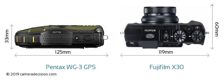 Pentax WG-3 GPS vs Fujifilm X30 Camera Size Comparison - Top View