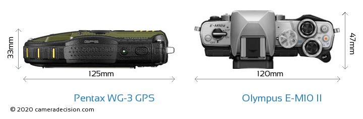 Pentax WG-3 GPS vs Olympus E-M10 II Camera Size Comparison - Top View