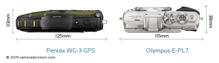 Pentax WG-3 GPS vs Olympus E-PL7 Camera Size Comparison - Top View