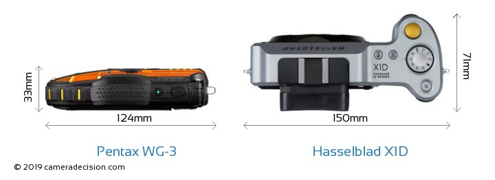 Pentax WG-3 vs Hasselblad X1D Camera Size Comparison - Top View