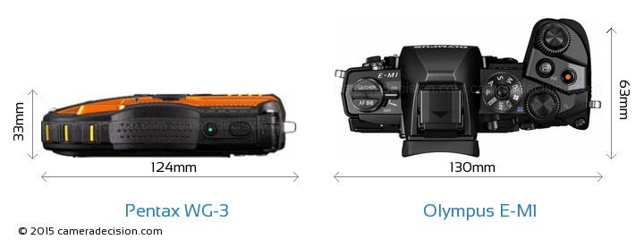 Pentax WG-3 vs Olympus E-M1 Camera Size Comparison - Top View
