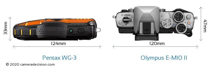 Pentax WG-3 vs Olympus E-M10 II Camera Size Comparison - Top View