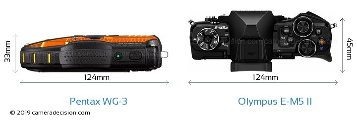 Pentax WG-3 vs Olympus E-M5 II Camera Size Comparison - Top View