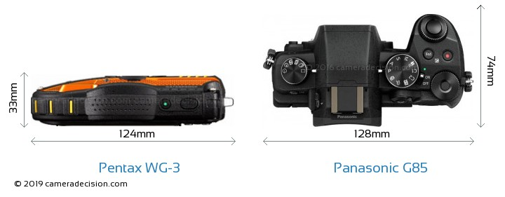 Pentax WG-3 vs Panasonic G85 Camera Size Comparison - Top View